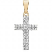 9ct Gold small Cubic Zirconia Pave Cross Pendant 0.8g